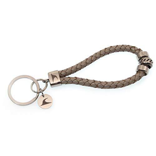 WAVEPIRATE® Echt Leder Edelstahl Schlüsselanhänger Keychain Wave Silver geflochten Hellgrau Damen Herren