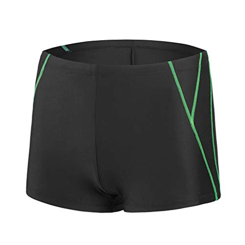 Herrenhosen für schwimmende Männer Soft Breathable Polyester Bulge Belegdruck Stil Elastische Strahllinie Quick Dry Beach Shorts für Sommer Surfen(Schwarz,XL)