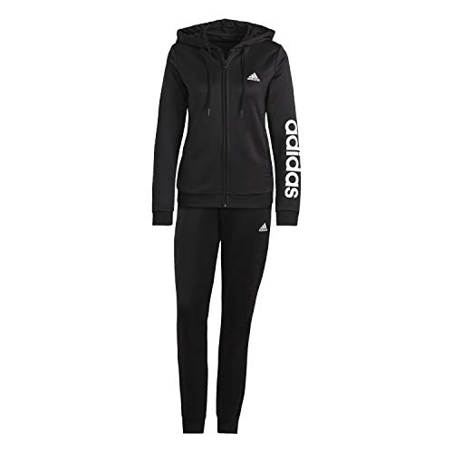 adidas GM5575 Damen Essentials Logo French Terry Trainingsanzug, Black/White, M