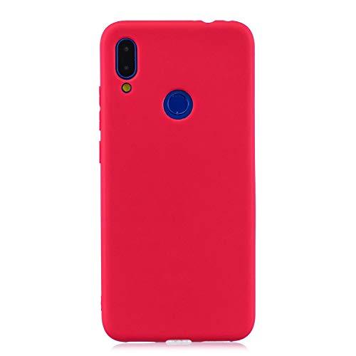cuzz Funda para Xiaomi Redmi 7+{Protector de Pantalla de Vidrio Templado} Carcasa Silicona Suave Gel Rasguño y Resistente Teléfono Móvil Cover-Rojo