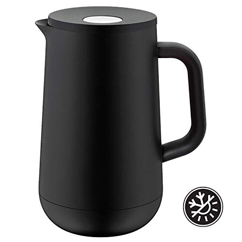 WMF Isolierkanne Thermoskanne Impulse, 1,0 l, für Tee oder Kaffee Druckverschluss hält Getränke 24h kalt und warm, schwarz