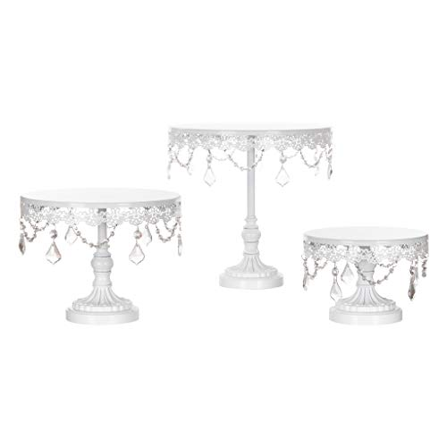 Amalfi Decor Cake Stand Set of 3 Pack, Dessert Cupcake Pastry Candy Display Plate for Wedding Event Birthday Party, Round Metal Pedestal Holder with Crystals, White