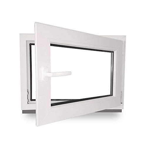 Kellerfenster - Kunststoff - Fenster - innen weiß/außen weiß - BxH: 90 x 60 cm - 900 x 600 mm - DIN Rechts - 2 fach Verglasung - 60 mm Profil