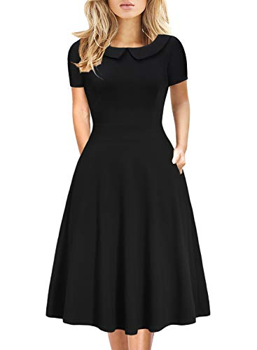 HELYO Little Black Dress for Women Vintage Teen Junior Girl Homecoming Special Occasions Outdoor Cocktail Party Flowy Aline Dresses 978 (Solid Black, S)