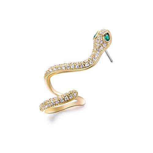 HMEI Pendientes de tuerca para mujer, de oro, no perforados, para cartílago, pendientes de serpiente para decoración de fiestas (color dorado, tamaño: izquierda)