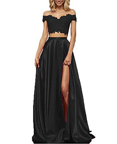 EVANKOU Damen Zweiteiliges Spitzensatin langes Ballkleid Offener Schultergurt Sexy Elegantes Abendkleid Schwarz Große 38