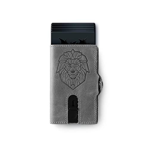 Löwenfeuer Kartenetui mit RFID Schutz aus Echtem Leder I mit Münzfach I für Damen und Herren I Geldbörse (Grau)