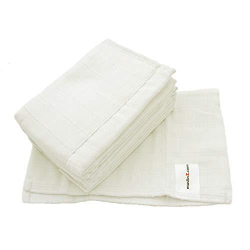 MuslinZ 6er Packung Size1 Prefold Musselin Windeln Weiß (Weiß)…