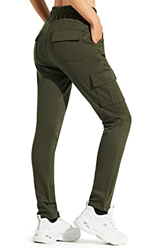 Libin Women's Cargo Joggers Pants Sweatpants Athletic Tapered Lounge Casual Pants for Running with 6 Pockets, Olive Green M