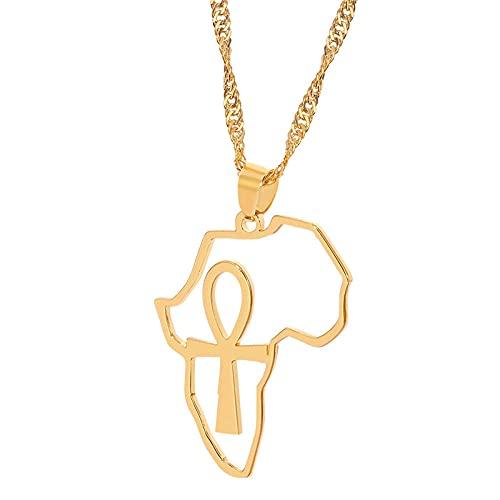 Collar de acero inoxidable con mapa de África y Ankh, joyería de color dorado para mujer y niña, cadenas de mapas africanos, símbolo egipcio, luz cruzada, amarillo, dorado