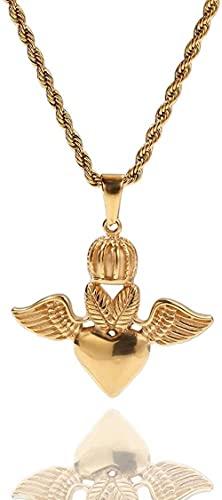 NC110 Collar con Colgante de Corona de Acero Inoxidable, alas de Amor, Personalidad de Hip Hop, Accesorios Hipster para Hombres y Mujeres, Moda Simple YUAHJIGE