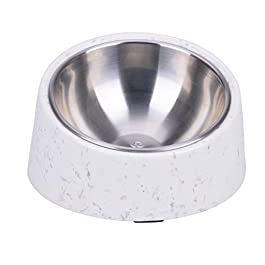 SUPER DESIGN Dog Bowl, Slanted Pet Bowl No Mess Easy Eating for Dogs Cats, 15 Degree Tilted Non-Spill Non-Slip Stainless Steel Food Water Bowl Melamine Stand