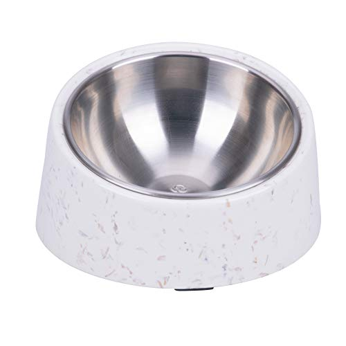 SuperDesign 犬 食器 猫 食器 ペット ボウル ステンレス 給食器 スタンド 傾斜がある 15度 食事をより気軽に メラミン製スタンド付き 滑り止め 取り外し可能 洗いやすい 食器洗濯機で洗える (M, わら色)
