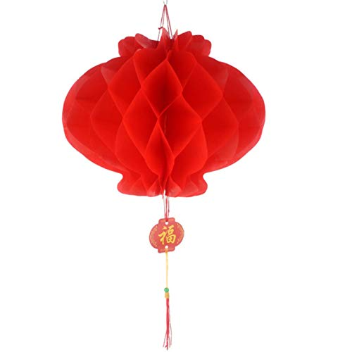 Party Paper Decorations 10Pcs Red Honeycomb Lantern&Chinese Character Blessing Tassel Waterproof Paper 6-16 Inch for New Year Spring Festival Decoration