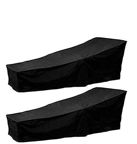 Puzzlos - 2 fundas para tumbonas para exteriores, resistentes a los rayos UV, impermeable, para jardín, ratán y patio, color negro, 2,08 x 0,76 m x 0,41 a 0,79 m, 2,8 m x 0,4 m x 0,8 m