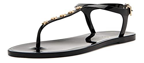 Katy Perry Women's The Geli-T Strap Flat Sandal, Star/Black, 8