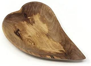 AramediA Wooden Olive Wood Heart Shaped serving Dish Bowl -Handmade and Hand Carved by artisans.