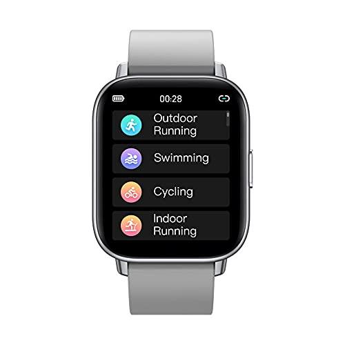 Smart Watch para medir la frecuencia cardíaca y la presión Arterial HD Color Touch Scree Sports Watch Reloj Inteligente-Plata