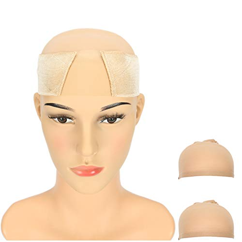 Breathable Wig Grip Band - Adjustable to Fit Your Head - 2020 Upgrade Comfort Elastic Velvet - Non Slip Lightweight Material for All Day Wear! Keep Wig Comfortably Secured Place - With 2Pcs Wig Cap (Tan)