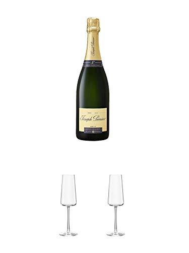 JOSEPH PERRIER Brut Champagner 0,75 Liter + Stölzle Power Champagnerkelch 1 Stück - 1590029 + Stölzle Power Champagnerkelch 1 Stück - 1590029