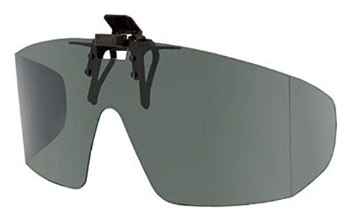 Polarized Grey Clip-on Flip-up Sunglasses - Wrap Frame Style - 65mm Wide X 55mm High (140mm Wide)