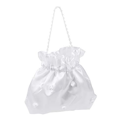 VORCOOL Brautbeutel Brauttasche Weiß Satin Handtasche mit Blume