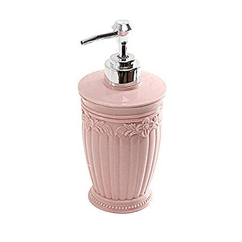 Beashine Dispensador de jabón de 400 ml, dispensador de jabón de mano tallado, dispensador de jabón para cocina, baño, oficina, redondo, rosa