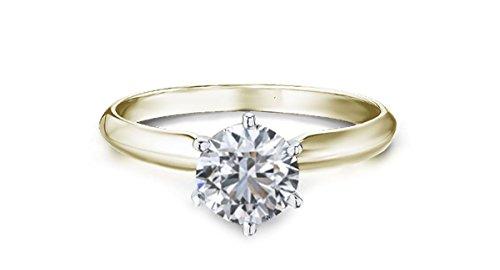 gelb gold Diamant Ring 1 Karat Solitär mit Diamond grading Bericht-54 (17.2)
