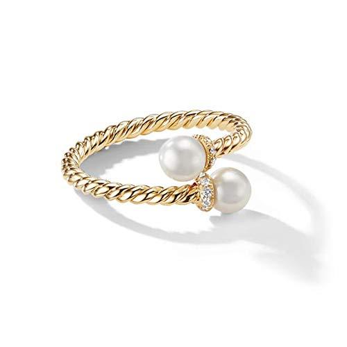 "GNOCE Anillo de oro amarillo con perla cultivada y diamantes, anillo de plata de ley con texto en inglés ""Someone You Loved"""