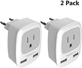 2-Pack Tessan International Travel Power Outlet Adaptor