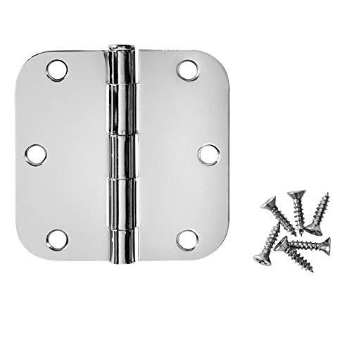 Cosmas Polished Chrome Door Hinge 3.5 Inch x 3.5 Inch with 5/8 Inch Radius Corners - 30 Pack