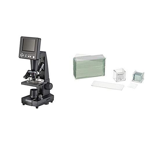 Bresser Durchlicht und Auflicht LCD-Mikroskop,5 Megapixel Sensor und 8.9cm, inklusive Kreuztisch zur Objektverstellung, SD Karten Anschluss und umfangreichem Zubehör&Mikroskop Objektträger/Deckgläser
