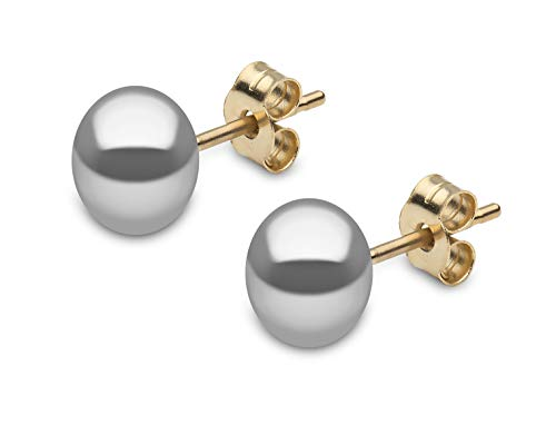 Kimura Pearls 9ct Yellow Gold 7mm Grey Button Shape Freshwater Pearl Stud Earrings