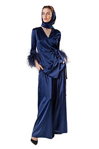 Women's Fur Robe Feather Robe with Luxury Silk Kimono with Ethically Sourced Ostrich Feathers Navy