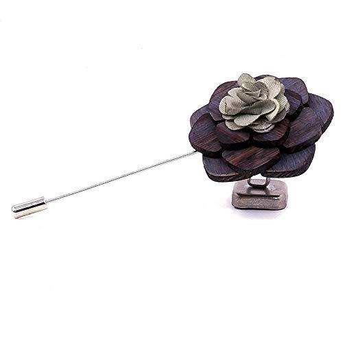 Uteruik Spilla in legno fiore Boutonniere corpetto da sposa per uomo vestito smoking giacca 1 pz (#B)