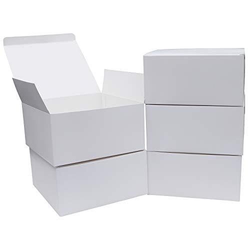 Weiße Schachteln aus Karton mit Deckel (10-er Pack) Großes Geschenkbox Set (20x20x10 cm) Vintage Pappschachteln mit Deckel, Rustikale Geschenkbox für Geschenke, Festivals, Hochzeit Geschenk