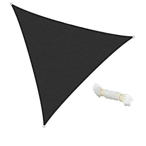 ECD Germany Voile d'ombrage - Triangulaire 5x5x5m - Anthracite HDPE - avec protection UV - Câble de tension compris - Auvent de protection pour balcon et terrasse de jardin