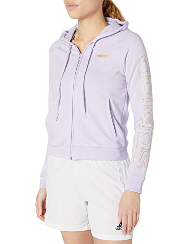adidas Damen Essentials Kapuzen-Trainingsjacke, Damen, Jacke, W E Brand Hd Tt, Violett getönt/Kupfer, Small