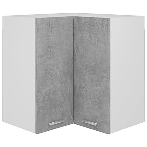 vidaXL Armoire d'angle Suspendue Armoire Murale Placard de Cuisine Meuble de Rangement Maison Intérieur Gris Béton 57x57x60 cm Aggloméré
