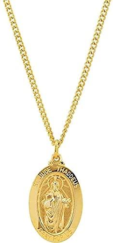 Collar para mujer Collar para hombre Colgante St. Jude Medalla ovalada Collar Esterlina de 24 quilates Chapado en oro amarillo de 24 quilates (29.13x17.69mm) Collar con colgante Regalo para niñas niño