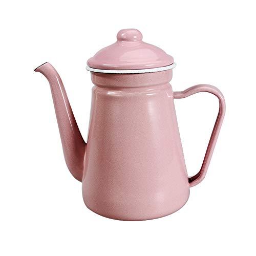 ZCRFYY Retro Emaille Kaffeetasse Teekanne 1.2 L/42OZ Wasserkocher Rot Kaffeekanne Kessel Nostalgie Thermoskanne,Für Induktions Herd Und Gas Herd, Küche Krug Milchkännchen,Rosa,1.2L