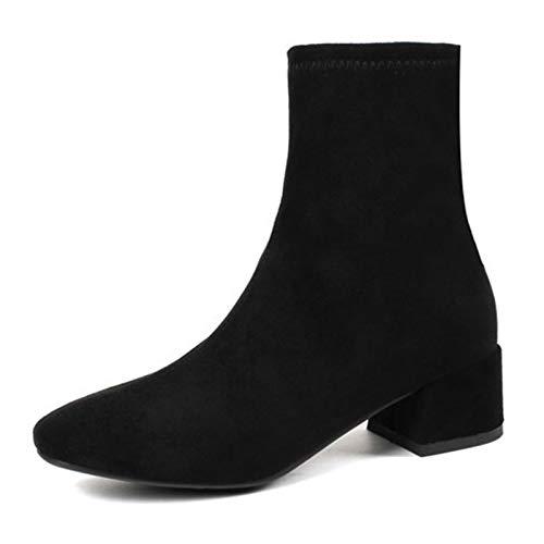QCBC Botas de mujer de punta de hilo elástico tobillo botas de tacón grueso zapatos de tacón alto zapatos de mujer calcetines botas,42 EU