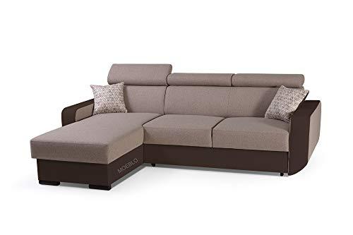 mb-moebel Ecksofa mit Schlaffunktion Eckcouch mit Bettkasten Sofa Couch Wohnlandschaft L-Form Polsterecke Pedro (Toffi, Ecksofa Links)