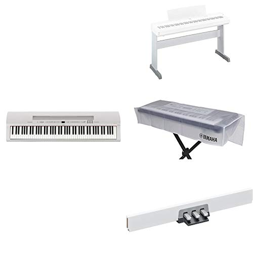 Yamaha P255 88-Key Professional Weighted Action Digital Piano Bundle with Cover, Stand and 3-Pedal Unit, White