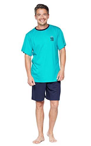 Selente Sweet Dreams bequemer Herren Pyjama/Shorty/Schlafanzug, mit weicher Baumwolle, grün-Uni, Gr. XL (54)
