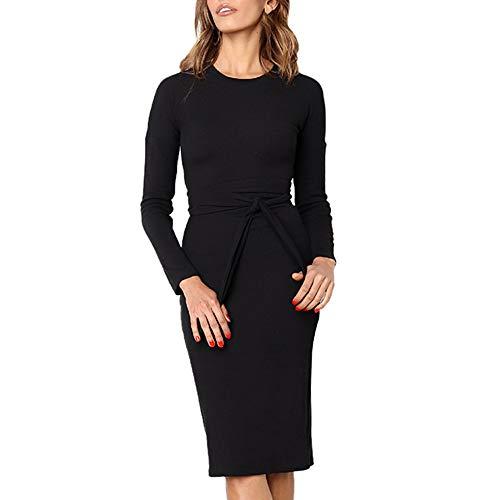 KPILP Mode Frauen Elegante Petticoat Langarm Solide Oansatz Gürtel Bogen Business Bodycon Slim Langes Kleid Rockabilly Kleid Formelle Kleidung(Schwarz,EU-44/CN-M