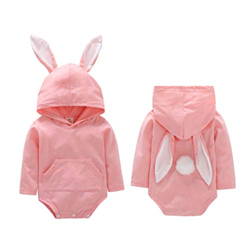 Newborn Baby Boy Girl Easter Outfits Bunny Romper Bodysuit Long Sleeve Hooded Jumpsuit with Rabbit Ears My 1st Easter Clothes (Pink, 18-24 Months)