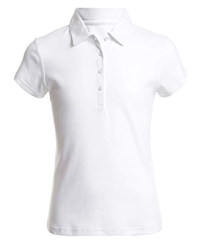 Nautica Mädchen School Uniform Sensory-Friendly Short Sleeve Polo Poloshirt, weiß, Klein