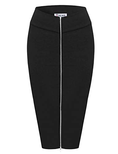 TAM WARE Womens Stylish Exposed Front Zip Stretchy Pencil Skirt TWCWD129-BLACK-US L