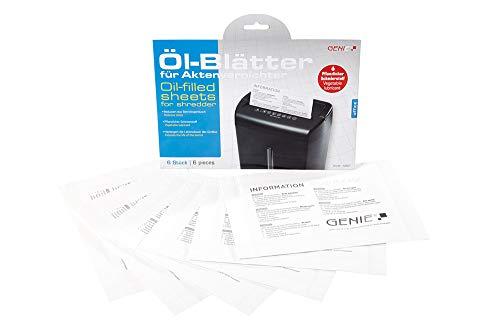 Genie pflegekit (Láminas lubricantes/ölpapier y Cleaning Kit de para destructora, adecuado para todos los tipos de corte, Fabricante De Dispositivos, 6unidades)